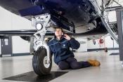 A young engineer at work at BBGA member company Oriens Aviation Pilatus Service Centre at London Big