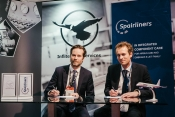 Inflite's Christoffer Creutz with Spairliners' Benoît Rollier at MRO Europe yester