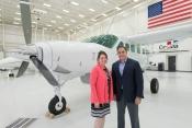 L-R Jodi Noah, Cessna's Senior Vice President of Propeller Aircraft, Emmanuel Anassis, Chairman