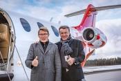 L-R Mika Hakkinen, Brand Ambassador FAI Aviation Group and Siegfried Axtmann Chairman and Founder FA