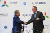 Left JSC Astana EXPO 2017's Chairman Akhmetzhan, right JSAC Air Astana President Peter Foster
