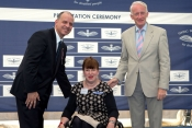Mary Doyle recieves her wings from Prince Faisal and Chief Air Marshall Sir Steven Dalton