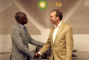 Right to Left, Justin Walker, Technical Services Director, Air BP and Inacio Costa, Aviation Manager