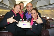 Wizz Air Crew celebrate flights from Budapest to Moscow.