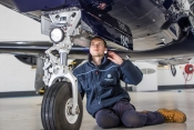 Young Engineer at work at BBGA member Oriens Aviation Pilatus Service Centre at London Biggin Hill
