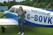 Zoe Burnett prior to take off atTayside Aviation.